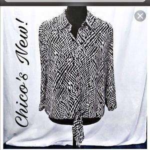 Chico's geometric black and white top